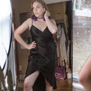 Armani Exchange Black Silky Dress